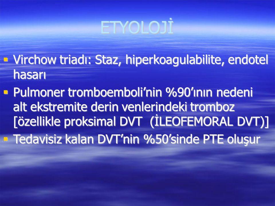 PULMONER EMBOLİ TANISINA ULAŞILAN DURUMLAR  Pozitif pulmoner anjiografi  Pozitif spiral CT anjiografi  PE ile uyumlu perfüzyon sintigrafisi + klinik olarak yüksek\orta olasılıklı PE  Yüksek olasılıklı V\Q sin + klinik olarak yüksek\orta olasılıklı PE  Pozitif EKO + klinik olarak yüksek olasılıklı PE