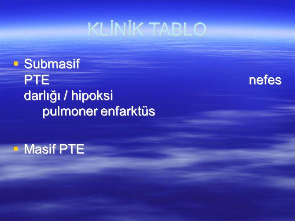 PULMONER ENFARKTÜS  %10  Plöritik göğüs ağrısı  Hemoptizi  Hemorajik plevral efüzyon  Kama şeklinde periferal opasite  Eşlik eden kalp veya akciğer hastalığında
