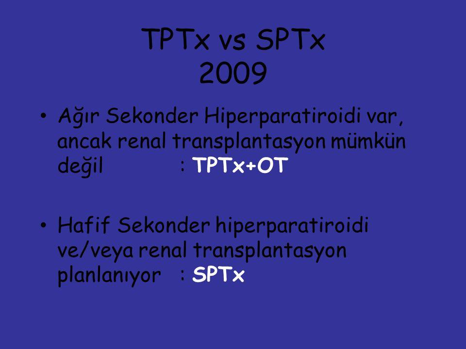 TPTx vs SPTx 2009 Ağır Sekonder Hiperparatiroidi var, ancak renal transplantasyon mümkün değil: TPTx+OT Hafif Sekonder hiperparatiroidi ve/veya renal transplantasyon planlanıyor: SPTx