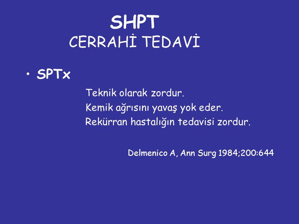 SHPT CERRAHİ TEDAVİ SPTx Teknik olarak zordur.Kemik ağrısını yavaş yok eder.