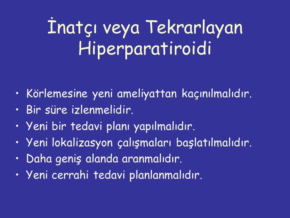 İnatçı veya Tekrarlayan Hiperparatiroidi Körlemesine yeni ameliyattan kaçınılmalıdır.