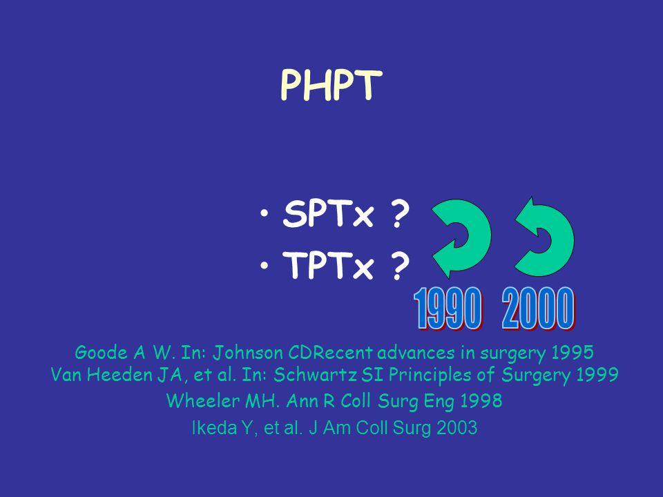 PHPT SPTx.TPTx. Goode A W. In: Johnson CDRecent advances in surgery 1995 Van Heeden JA, et al.
