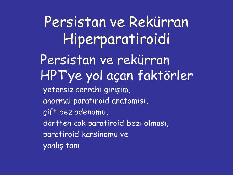 Persistan ve Rekürran Hiperparatiroidi Persistan ve rekürran HPT'ye yol açan faktörler yetersiz cerrahi girişim, anormal paratiroid anatomisi, çift bez adenomu, dörtten çok paratiroid bezi olması, paratiroid karsinomu ve yanlış tanı
