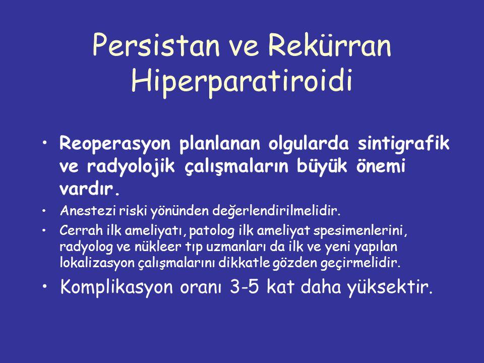 Persistan ve Rekürran Hiperparatiroidi Reoperasyon planlanan olgularda sintigrafik ve radyolojik çalışmaların büyük önemi vardır.