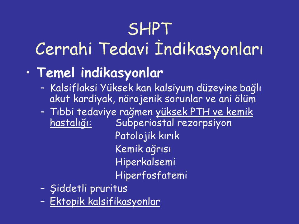 SHPT Cerrahi Tedavi İndikasyonları Temel indikasyonlar –Kalsiflaksi Yüksek kan kalsiyum düzeyine bağlı akut kardiyak, nörojenik sorunlar ve ani ölüm –Tıbbi tedaviye rağmen yüksek PTH ve kemik hastalığı: Subperiostal rezorpsiyon Patolojik kırık Kemik ağrısı Hiperkalsemi Hiperfosfatemi –Şiddetli pruritus –Ektopik kalsifikasyonlar