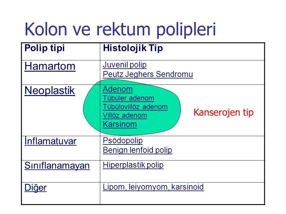 Kolon ve rektum polipleri Polip tipiHistolojik Tip Hamartom Juvenil polip Peutz Jeghers Sendromu Neoplastik Adenom Tübüler adenom Tübülovillöz adenom