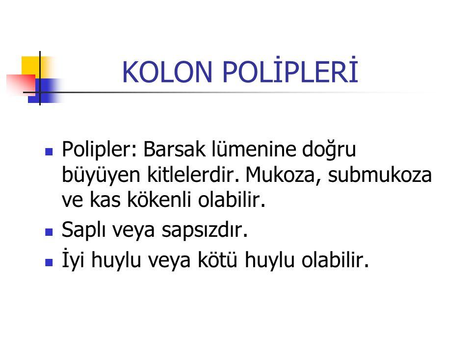 Kolon ve Rektum Polipleri Adenomatöz polipler Adenomatöz polipler Kolon ve rektum adenomu bir benign neoplazmadır.
