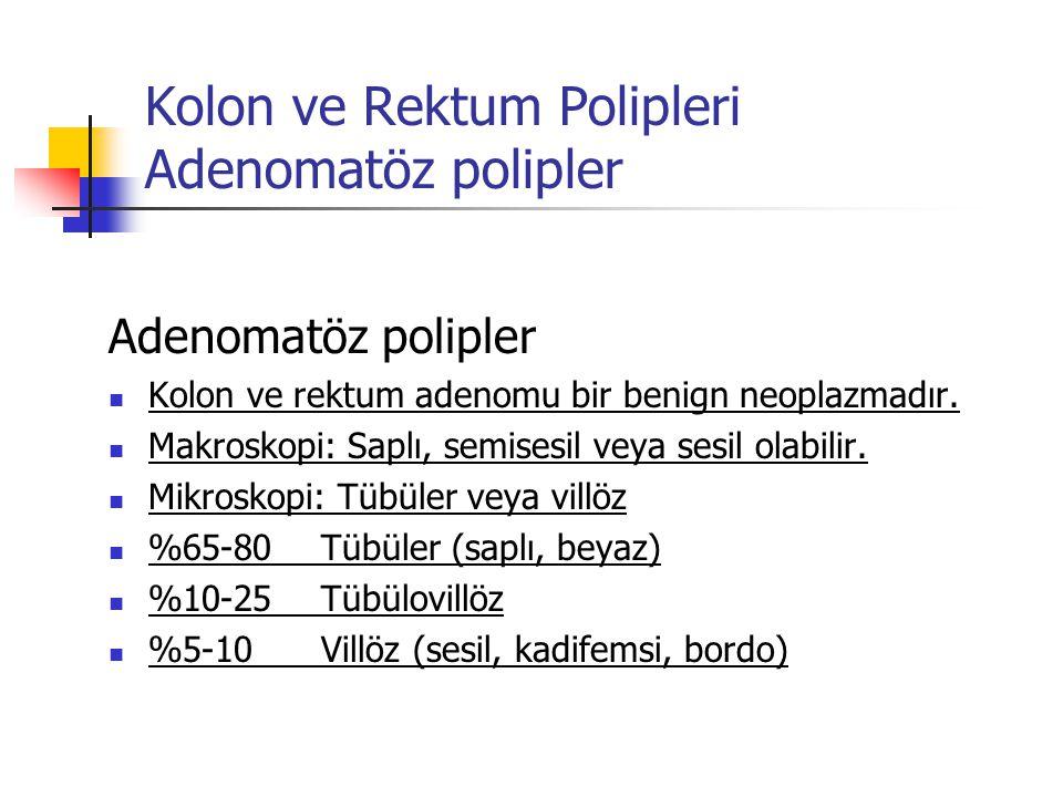 Kolon ve Rektum Polipleri Adenomatöz polipler Adenomatöz polipler Kolon ve rektum adenomu bir benign neoplazmadır. Makroskopi: Saplı, semisesil veya s