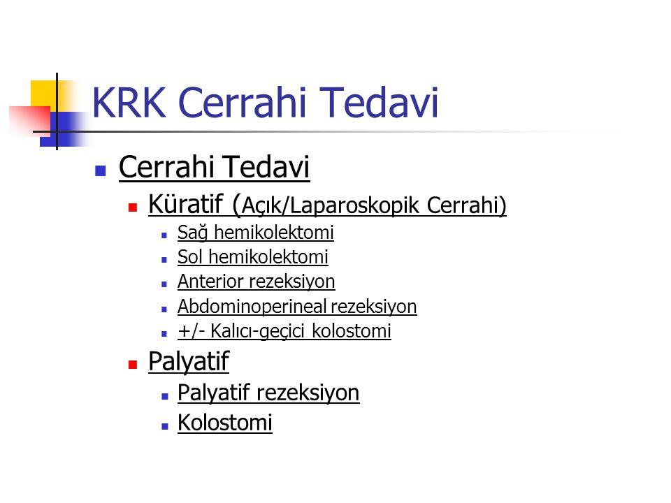 KRK Cerrahi Tedavi Cerrahi Tedavi Küratif ( Açık/Laparoskopik Cerrahi) Sağ hemikolektomi Sol hemikolektomi Anterior rezeksiyon Abdominoperineal rezeks
