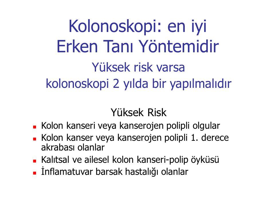 Kolonoskopi: en iyi Erken Tanı Yöntemidir Yüksek risk varsa kolonoskopi 2 yılda bir yapılmalıdır Yüksek Risk Kolon kanseri veya kanserojen polipli olg
