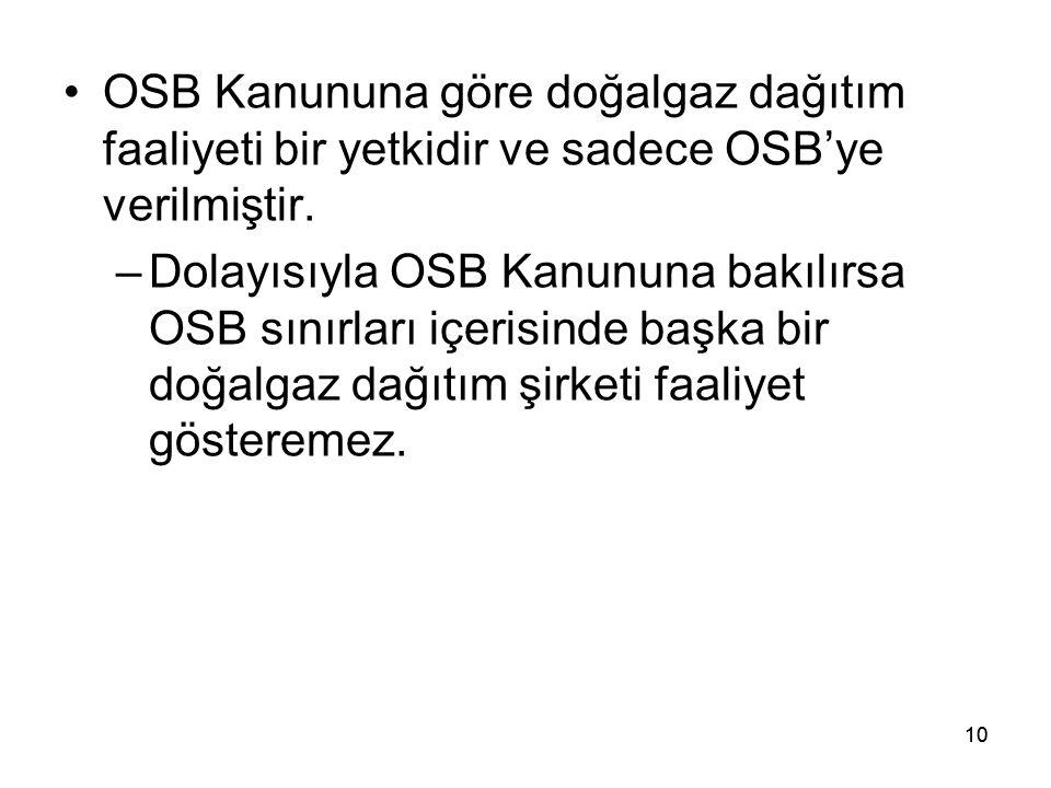 10 OSB Kanununa göre doğalgaz dağıtım faaliyeti bir yetkidir ve sadece OSB'ye verilmiştir.