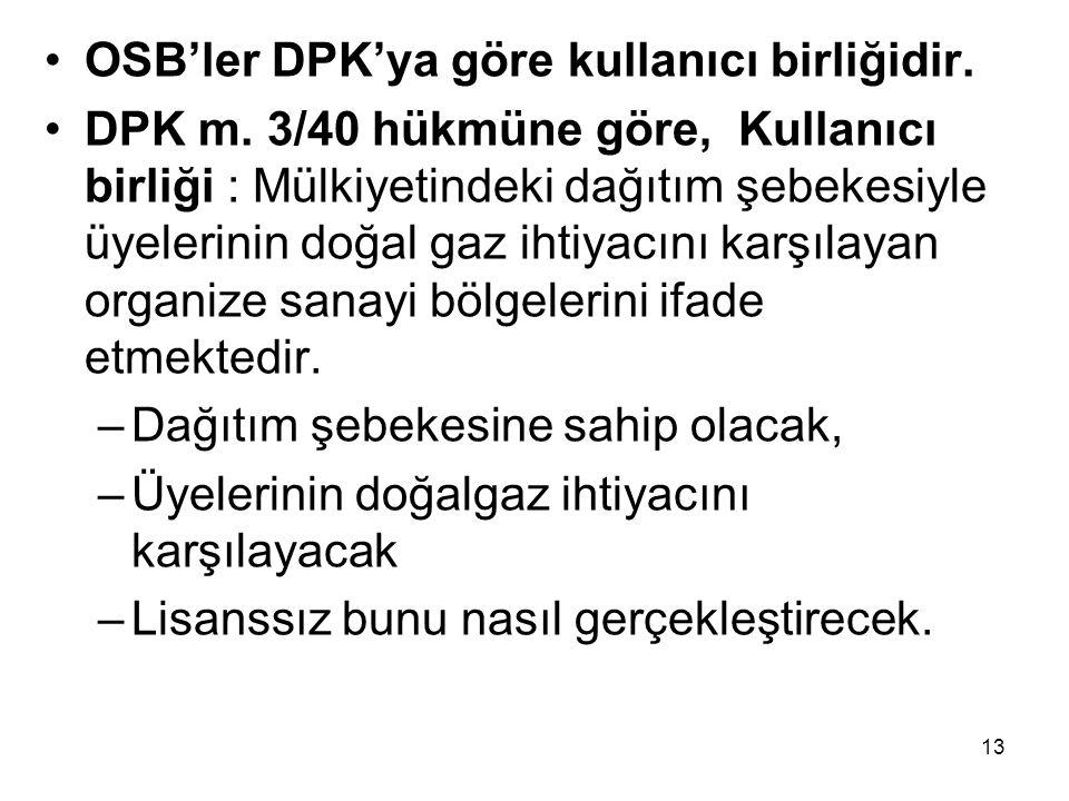 OSB'ler DPK'ya göre kullanıcı birliğidir.DPK m.