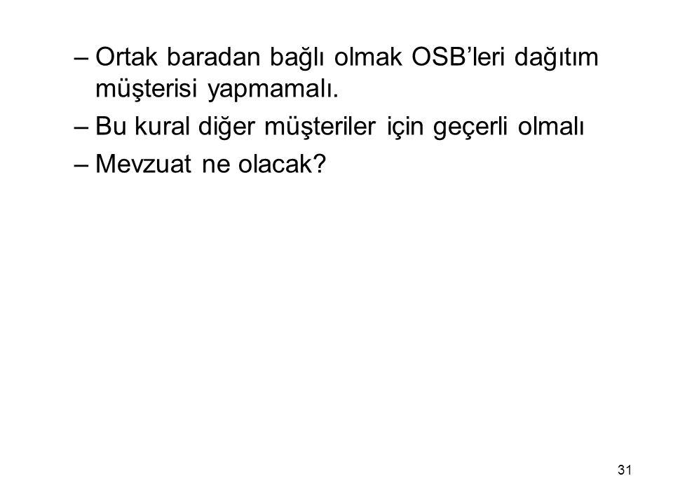 –Ortak baradan bağlı olmak OSB'leri dağıtım müşterisi yapmamalı.