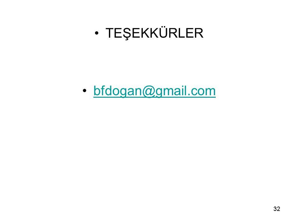 32 TEŞEKKÜRLER bfdogan@gmail.com 32