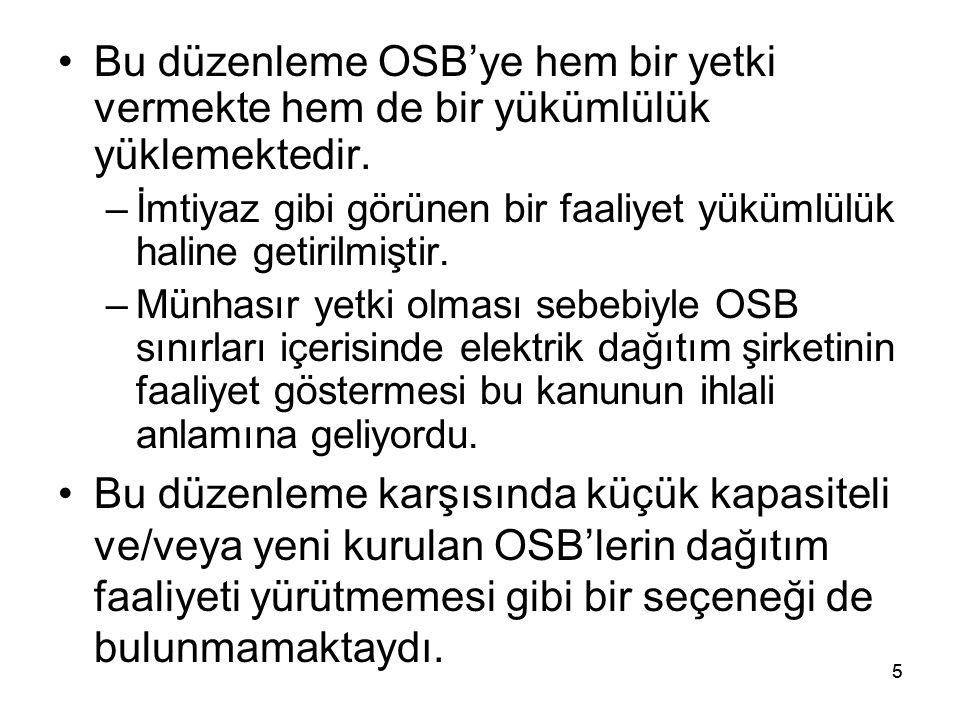 5 Bu düzenleme OSB'ye hem bir yetki vermekte hem de bir yükümlülük yüklemektedir.
