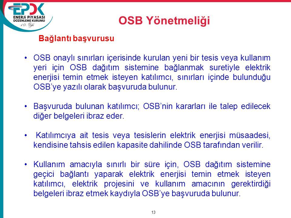 10. Yıl OSB Yönetmeliği 13 Bağlantı başvurusu OSB onaylı sınırları içerisinde kurulan yeni bir tesis veya kullanım yeri için OSB dağıtım sistemine bağ