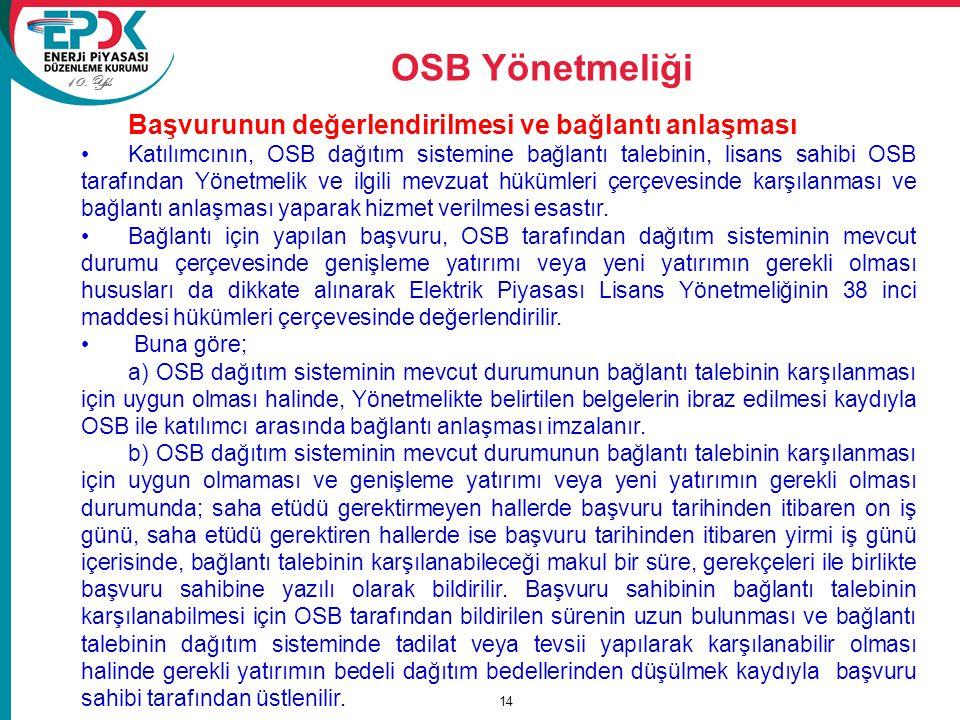 10. Yıl OSB Yönetmeliği 14 Başvurunun değerlendirilmesi ve bağlantı anlaşması Katılımcının, OSB dağıtım sistemine bağlantı talebinin, lisans sahibi OS
