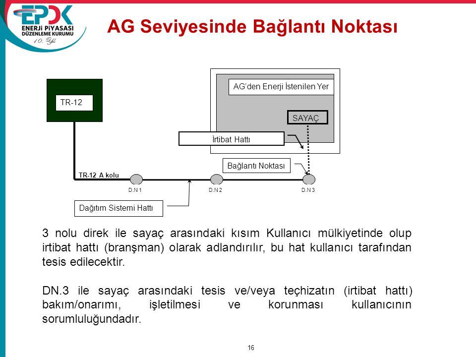 10. Yıl AG Seviyesinde Bağlantı Noktası 16 SAYAÇ AG'den Enerji İstenilen Yer D.N 1 Bağlantı Noktası İrtibat Hattı Dağıtım Sistemi Hattı TR-12 A kolu D