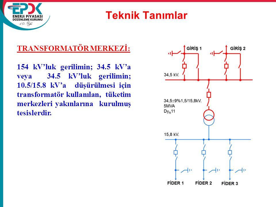 10. Yıl Teknik Tanımlar TRANSFORMATÖR MERKEZİ: 154 kV'luk gerilimin; 34.5 kV'a veya 34.5 kV'luk gerilimin; 10.5/15.8 kV'a düşürülmesi için transformat