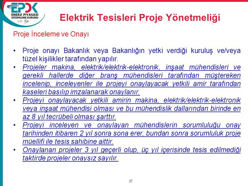 10. Yıl Elektrik Tesisleri Proje Yönetmeliği 37 Proje İnceleme ve Onayı Proje onayı Bakanlık veya Bakanlığın yetki verdiği kuruluş ve/veya tüzel kişil