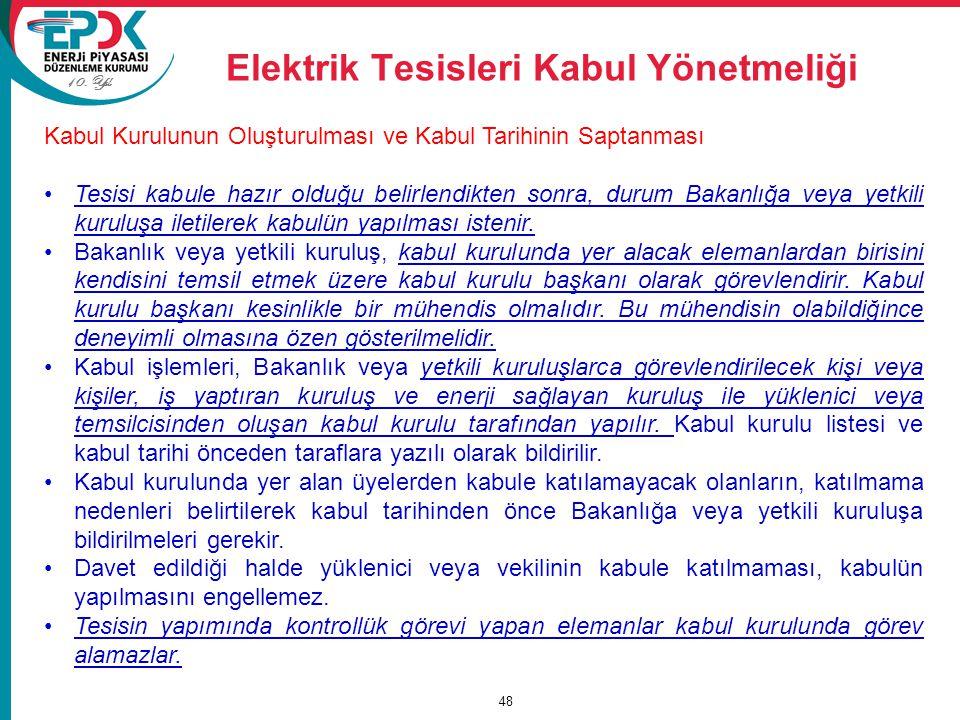 10. Yıl Elektrik Tesisleri Kabul Yönetmeliği 48 Kabul Kurulunun Oluşturulması ve Kabul Tarihinin Saptanması Tesisi kabule hazır olduğu belirlendikten