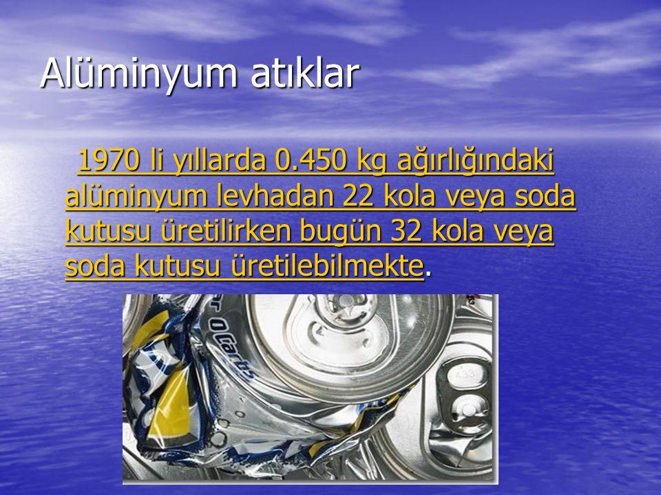 Alüminyum atıklar 1970 li yıllarda 0.450 kg ağırlığındaki alüminyum levhadan 22 kola veya soda kutusu üretilirken bugün 32 kola veya soda kutusu üreti