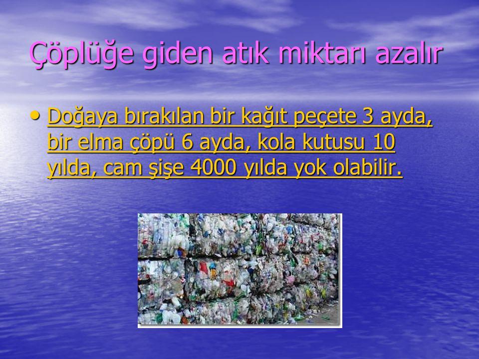 Çöplüğe giden atık miktarı azalır Doğaya bırakılan bir kağıt peçete 3 ayda, bir elma çöpü 6 ayda, kola kutusu 10 yılda, cam şişe 4000 yılda yok olabil