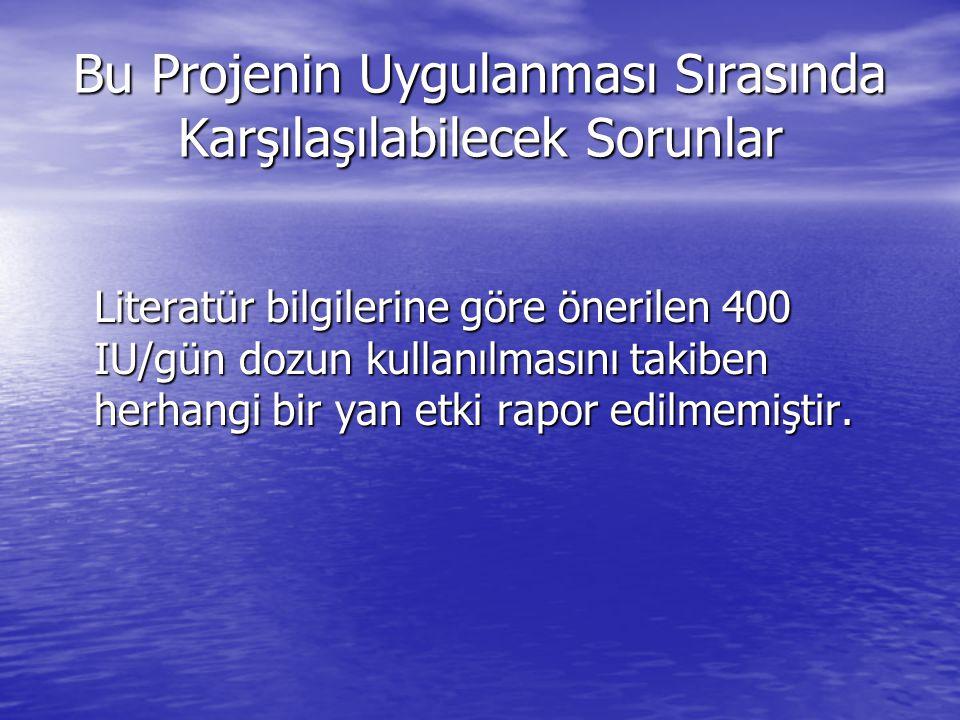 Bu Projenin Uygulanması Sırasında Karşılaşılabilecek Sorunlar Literatür bilgilerine göre önerilen 400 IU/gün dozun kullanılmasını takiben herhangi bir yan etki rapor edilmemiştir.