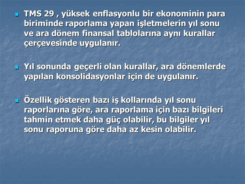 TMS 29, yüksek enflasyonlu bir ekonominin para biriminde raporlama yapan işletmelerin yıl sonu ve ara dönem finansal tablolarına aynı kurallar çerçeve