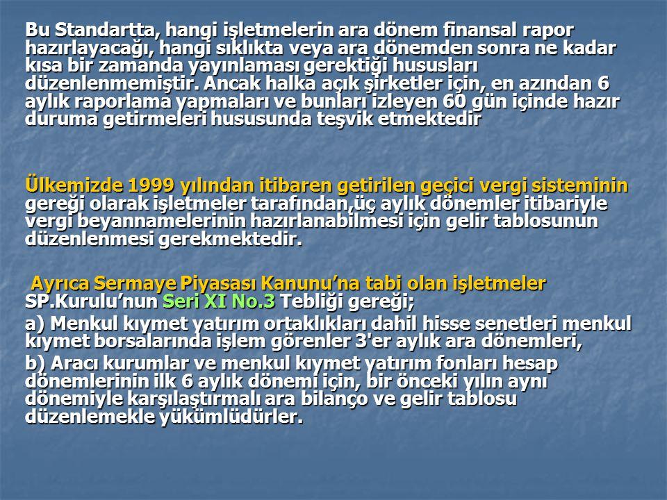 Bu Standartta, hangi işletmelerin ara dönem finansal rapor hazırlayacağı, hangi sıklıkta veya ara dönemden sonra ne kadar kısa bir zamanda yayınlaması