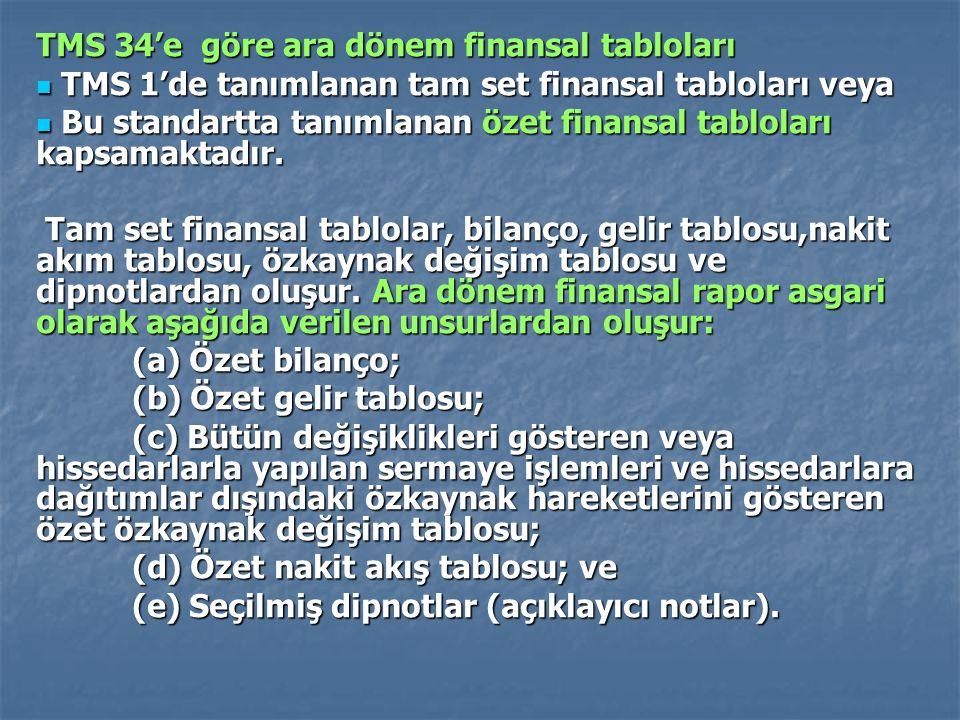 TMS 34'e göre ara dönem finansal tabloları TMS 1'de tanımlanan tam set finansal tabloları veya TMS 1'de tanımlanan tam set finansal tabloları veya Bu