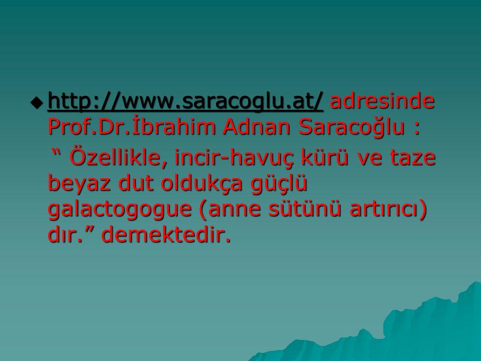 """ http://www.saracoglu.at/ adresinde Prof.Dr.İbrahim Adnan Saracoğlu : http://www.saracoglu.at/ """" Özellikle, incir-havuç kürü ve taze beyaz dut oldukç"""