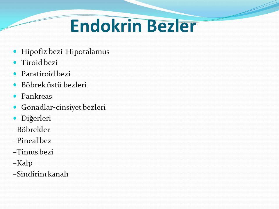 Endokrin Bezler Hipofiz bezi-Hipotalamus Tiroid bezi Paratiroid bezi Böbrek üstü bezleri Pankreas Gonadlar-cinsiyet bezleri Diğerleri –Böbrekler –Pine
