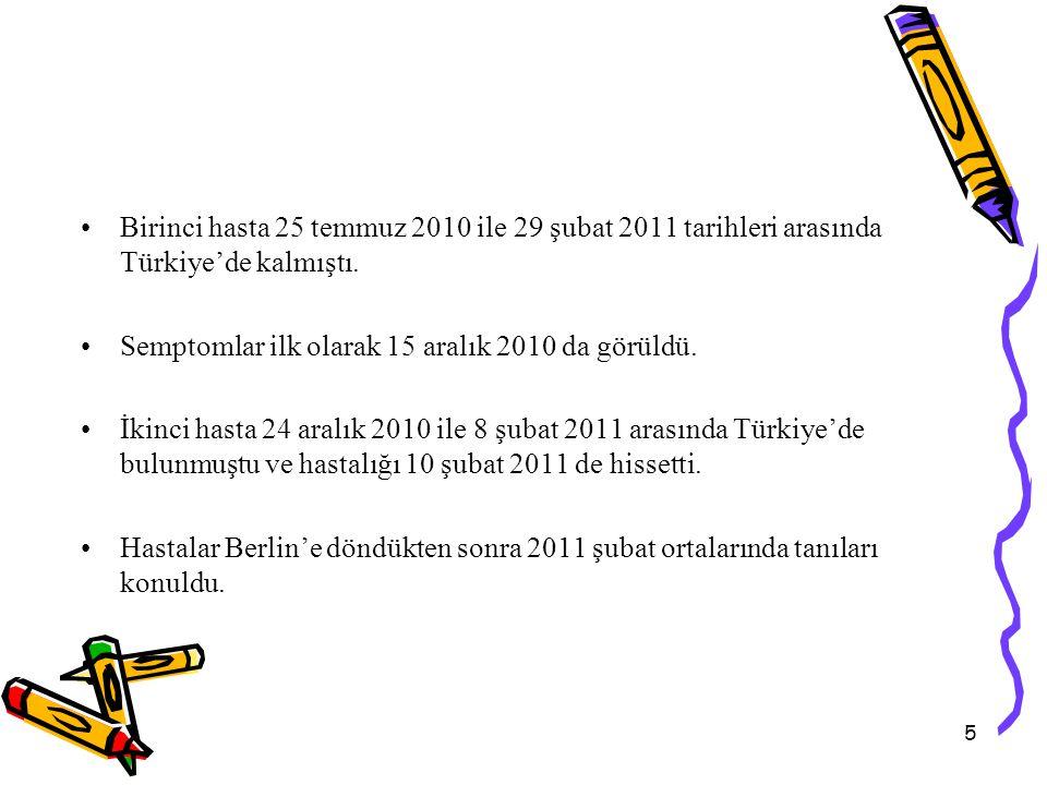 5 Birinci hasta 25 temmuz 2010 ile 29 şubat 2011 tarihleri arasında Türkiye'de kalmıştı.