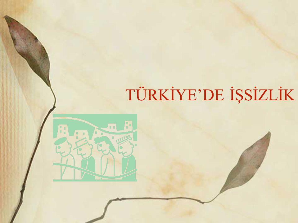 TÜRKİYE'DE İŞSİZLİK