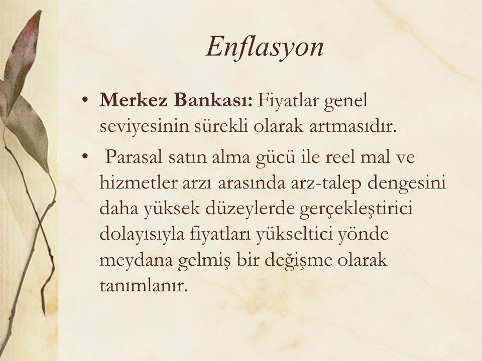 Enflasyon Merkez Bankası: Fiyatlar genel seviyesinin sürekli olarak artmasıdır.