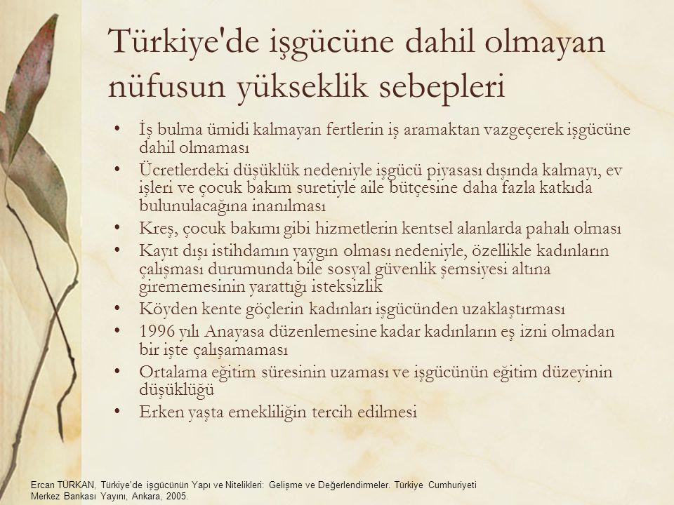 Türkiye de işgücüne dahil olmayan nüfusun yükseklik sebepleri İş bulma ümidi kalmayan fertlerin iş aramaktan vazgeçerek işgücüne dahil olmaması Ücretlerdeki düşüklük nedeniyle işgücü piyasası dışında kalmayı, ev işleri ve çocuk bakım suretiyle aile bütçesine daha fazla katkıda bulunulacağına inanılması Kreş, çocuk bakımı gibi hizmetlerin kentsel alanlarda pahalı olması Kayıt dışı istihdamın yaygın olması nedeniyle, özellikle kadınların çalışması durumunda bile sosyal güvenlik şemsiyesi altına girememesinin yarattığı isteksizlik Köyden kente göçlerin kadınları işgücünden uzaklaştırması 1996 yılı Anayasa düzenlemesine kadar kadınların eş izni olmadan bir işte çalışamaması Ortalama eğitim süresinin uzaması ve işgücünün eğitim düzeyinin düşüklüğü Erken yaşta emekliliğin tercih edilmesi Ercan TÜRKAN, Türkiye de işgücünün Yapı ve Nitelikleri: Gelişme ve Değerlendirmeler.