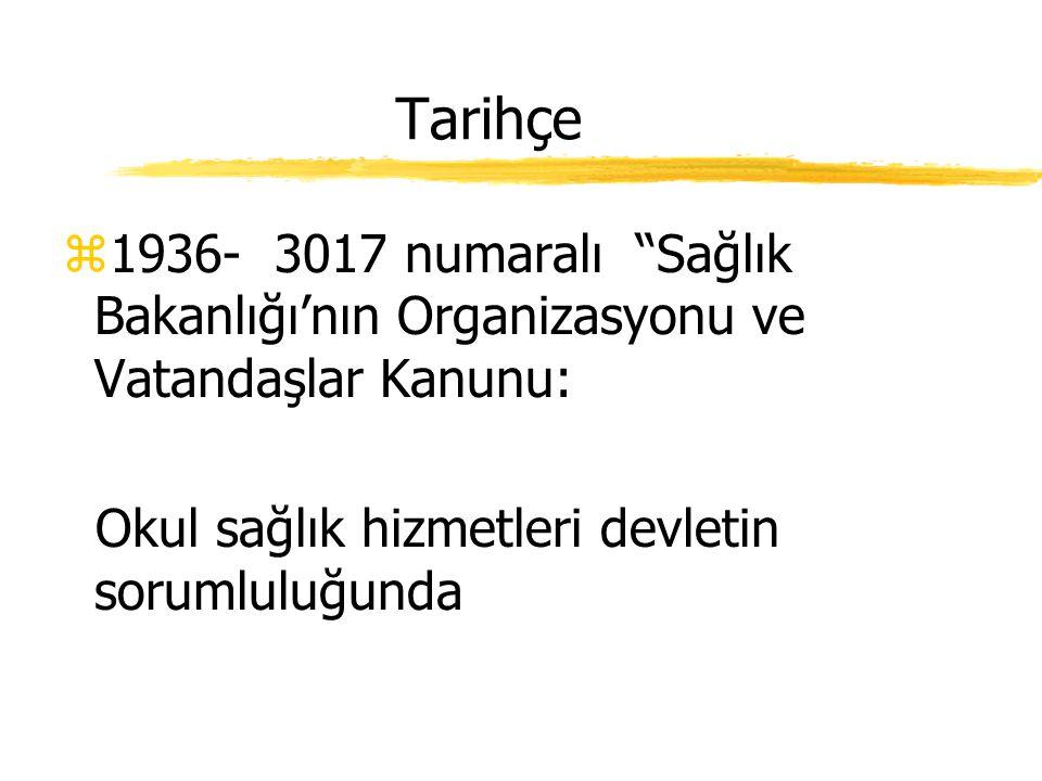 Tarihçe z1930- Genel Toplum Sağlığı Kanunu z163.-164. maddeler okul sağlığı ile ilişkili