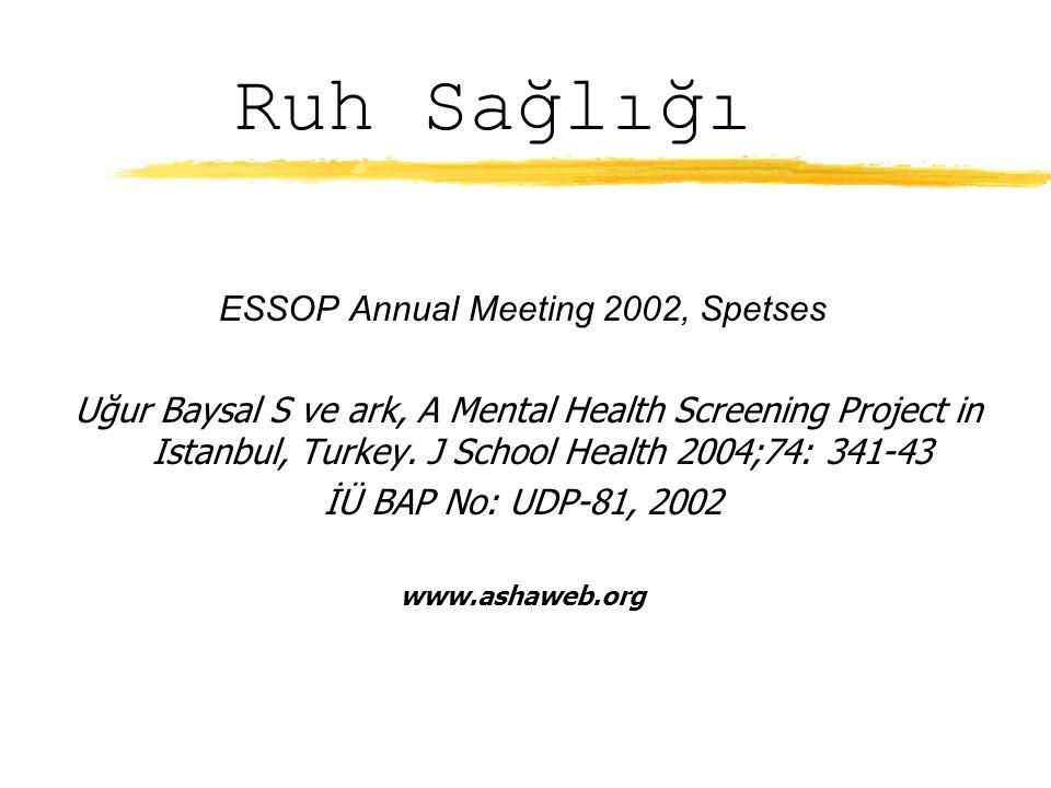Ruh Sağlığı ESSOP Annual Meeting 2002, Spetses Uğur Baysal S ve ark, A Mental Health Screening Project in Istanbul, Turkey.