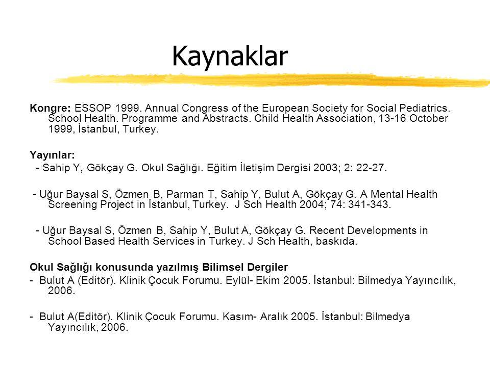 Kaynaklar Kongre: ESSOP 1999.Annual Congress of the European Society for Social Pediatrics.