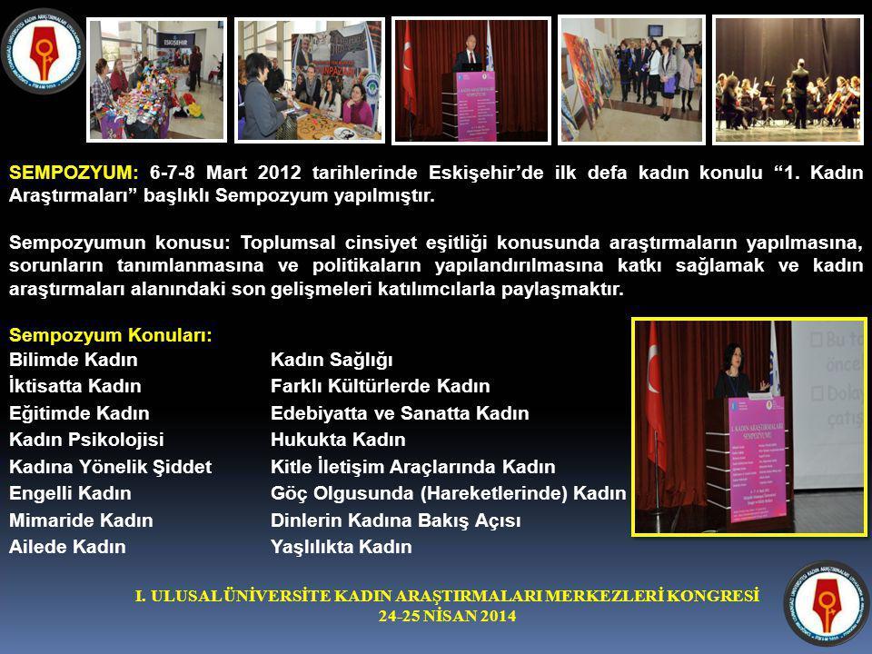 I. ULUSAL ÜNİVERSİTE KADIN ARAŞTIRMALARI MERKEZLERİ KONGRESİ 24-25 NİSAN 2014 SEMPOZYUM: 6-7-8 Mart 2012 tarihlerinde Eskişehir'de ilk defa kadın konu