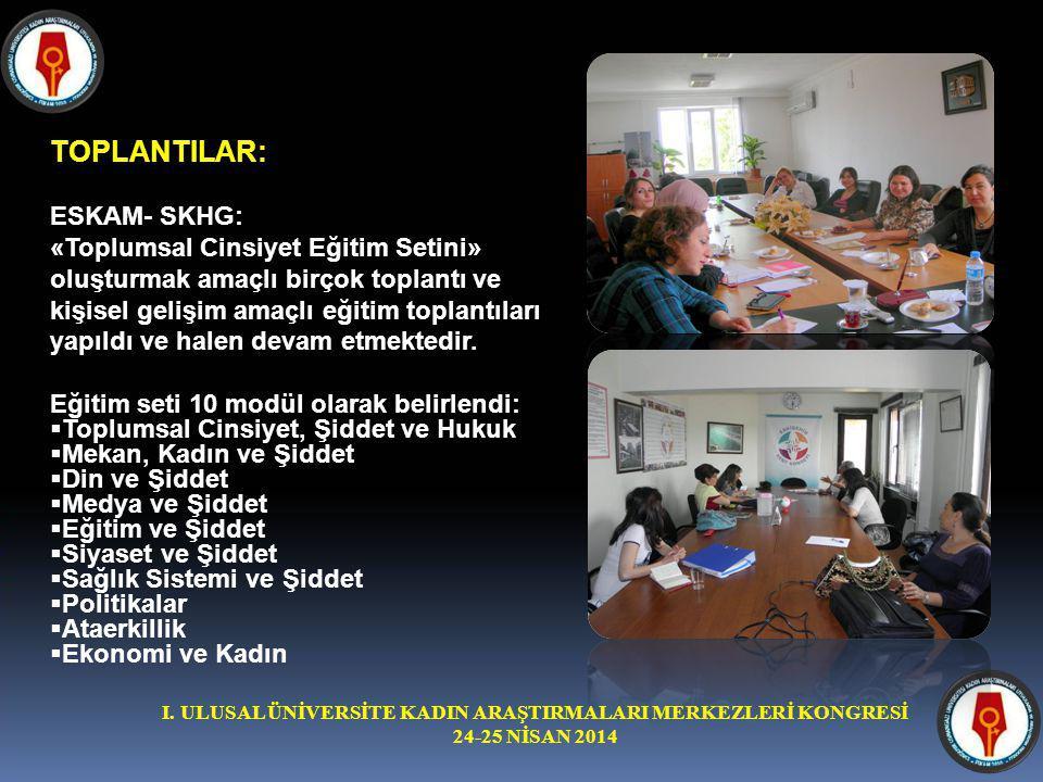 I. ULUSAL ÜNİVERSİTE KADIN ARAŞTIRMALARI MERKEZLERİ KONGRESİ 24-25 NİSAN 2014 TOPLANTILAR: ESKAM- SKHG: «Toplumsal Cinsiyet Eğitim Setini» oluşturmak