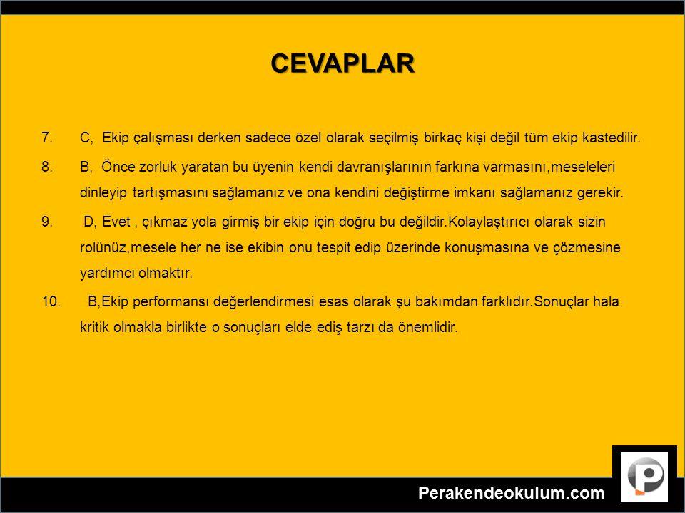 CEVAPLAR 7.C, Ekip çalışması derken sadece özel olarak seçilmiş birkaç kişi değil tüm ekip kastedilir. 8.B, Önce zorluk yaratan bu üyenin kendi davran