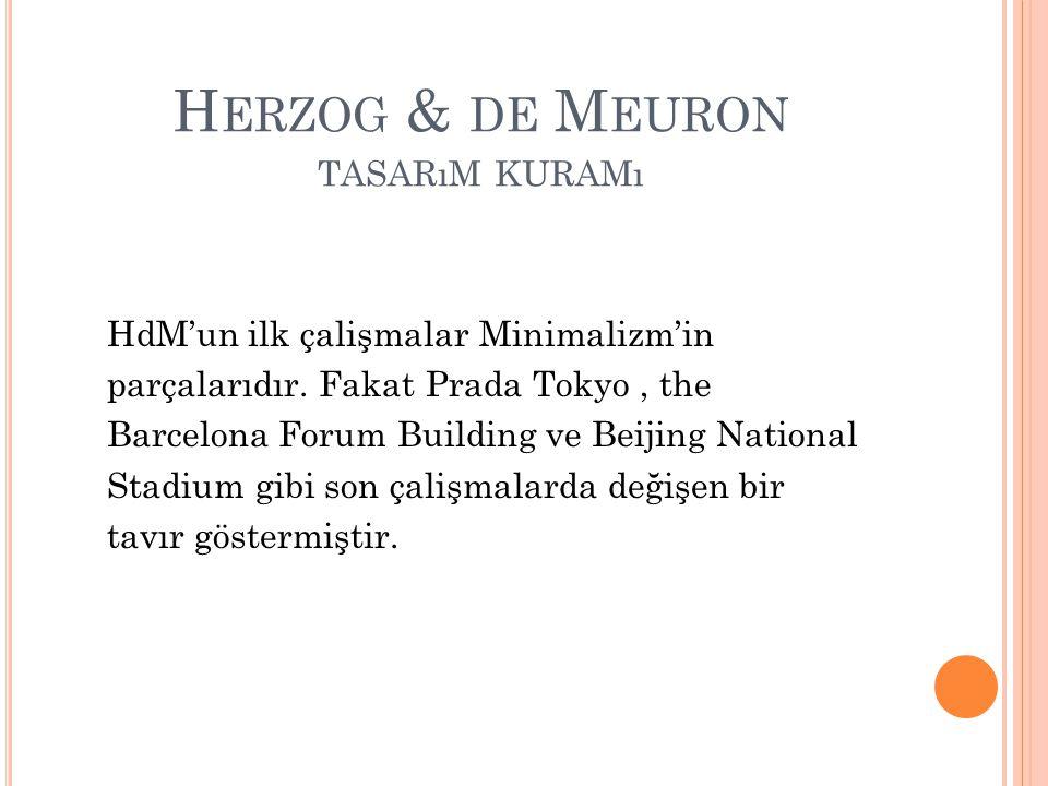 H ERZOG & DE M EURON TASARıM KURAMı HdM'un ilk çalişmalar Minimalizm'in parçalarıdır.
