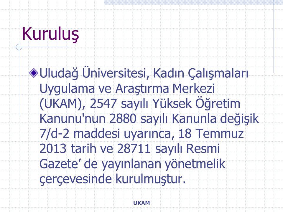Uludağ Üniversitesi, Kadın Çalışmaları Uygulama ve Araştırma Merkezi (UKAM), 2547 sayılı Yüksek Öğretim Kanunu nun 2880 sayılı Kanunla değişik 7/d-2 maddesi uyarınca, 18 Temmuz 2013 tarih ve 28711 sayılı Resmi Gazete' de yayınlanan yönetmelik çerçevesinde kurulmuştur.