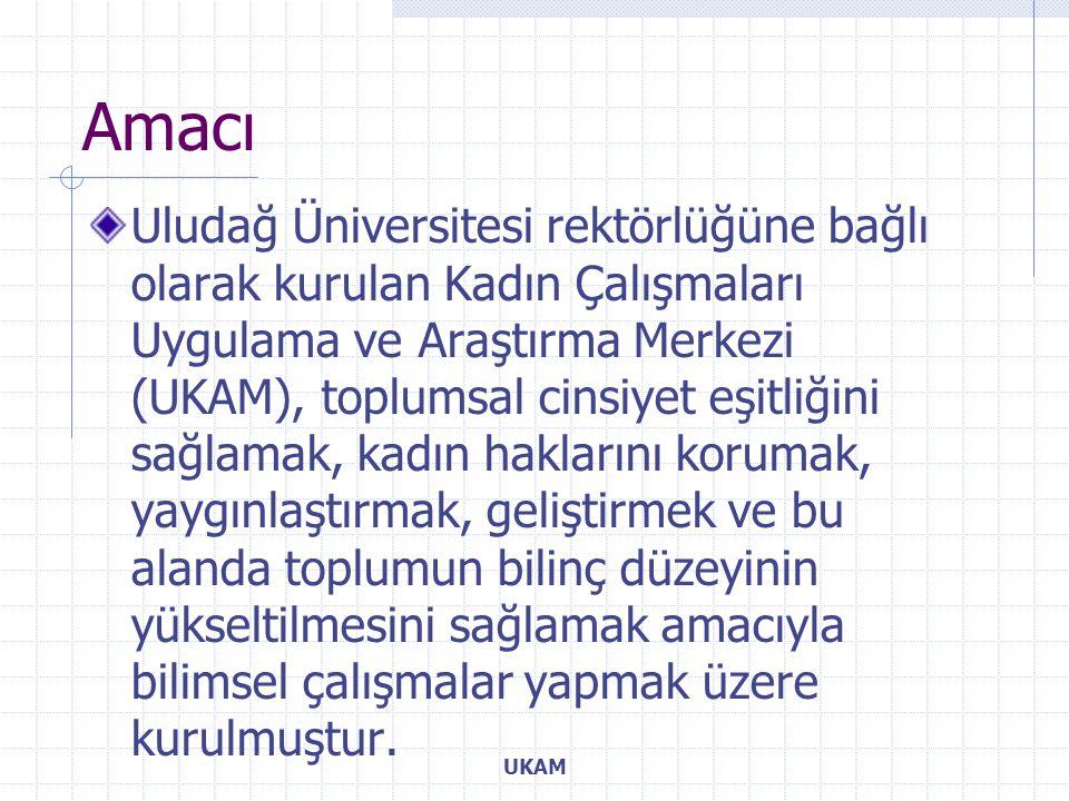 Amacı Uludağ Üniversitesi rektörlüğüne bağlı olarak kurulan Kadın Çalışmaları Uygulama ve Araştırma Merkezi (UKAM), toplumsal cinsiyet eşitliğini sağlamak, kadın haklarını korumak, yaygınlaştırmak, geliştirmek ve bu alanda toplumun bilinç düzeyinin yükseltilmesini sağlamak amacıyla bilimsel çalışmalar yapmak üzere kurulmuştur.