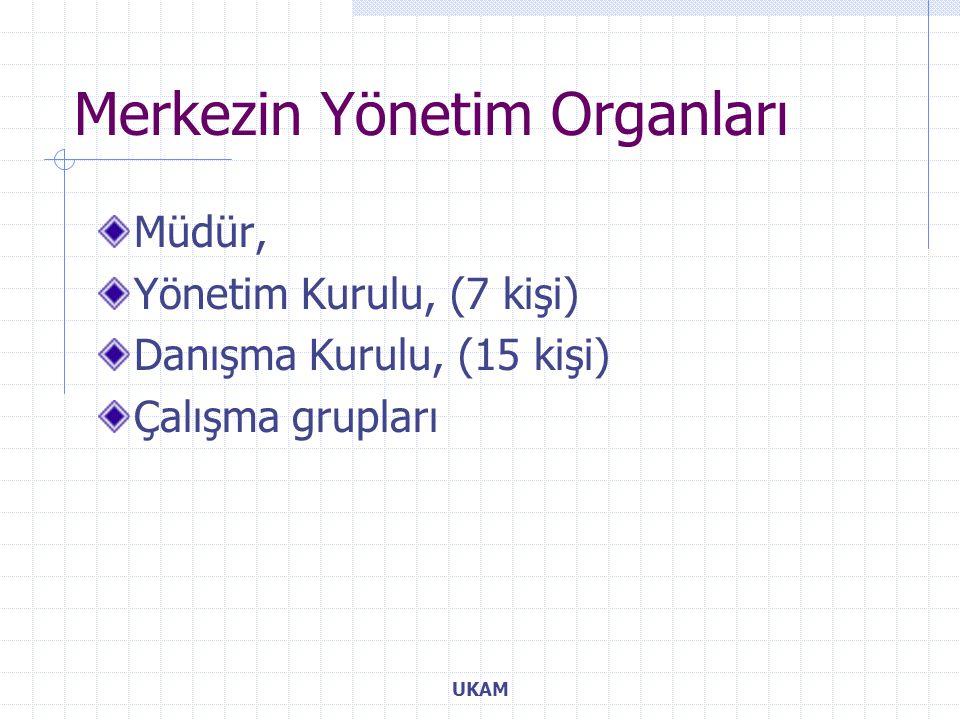 Merkezin Yönetim Organları Müdür, Yönetim Kurulu, (7 kişi) Danışma Kurulu, (15 kişi) Çalışma grupları UKAM