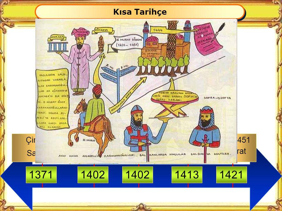 1364 Sırp Sındığı 1389 I. KosovaNiğboluVarnaII. Kosova 139614441448 Osmanlı-Haçlı Seferleri