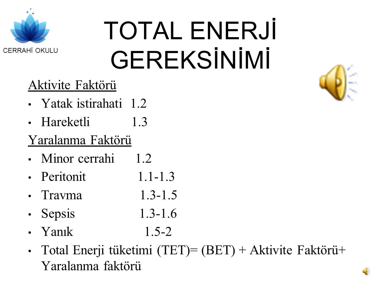 CERRAHİ OKULU TOTAL ENERJİ GEREKSİNİMİ Aktivite Faktörü Yatak istirahati 1.2 Hareketli 1.3 Yaralanma Faktörü Minor cerrahi 1.2 Peritonit 1.1-1.3 Travma 1.3-1.5 Sepsis 1.3-1.6 Yanık 1.5-2 Total Enerji tüketimi (TET)= (BET) + Aktivite Faktörü+ Yaralanma faktörü