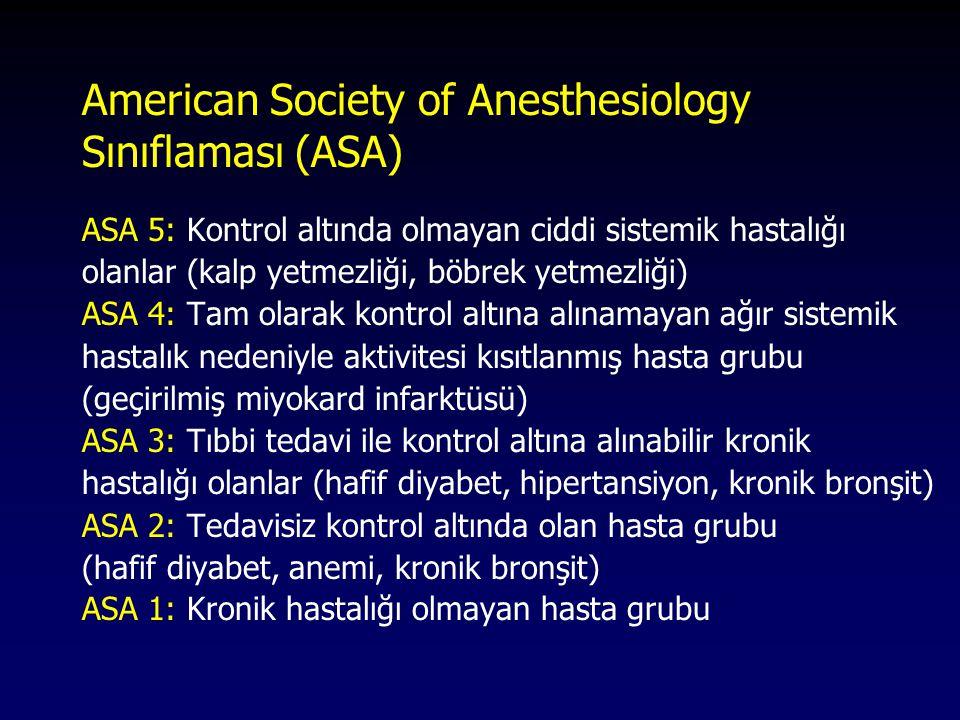 American Society of Anesthesiology Sınıflaması (ASA) ASA 5: Kontrol altında olmayan ciddi sistemik hastalığı olanlar (kalp yetmezliği, böbrek yetmezli